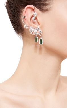 White Diamond Leaves Earrings by Wendy Yue for Preorder on Moda Operandi