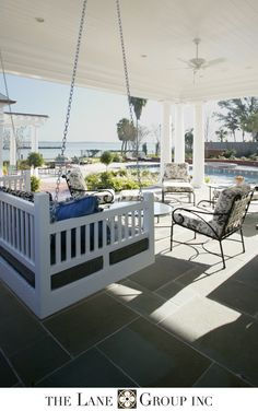 The Lane Group riverfront home Lanai Porch, Porch Swing, Outdoor Spaces, Outdoor Living, Southern Porches, Seaside Style, Residential Architect, My Ideal Home, Outdoor Swings