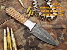 Custom Made Damascus Steel Hunting Knife / Dagger Knife