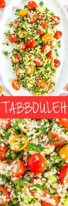 Tabbouleh Never had it Think couscous or quinoa mixed with vegetables herbs lemon and olive oil Easy no cooking required healthy and packed with so much flavor Great for. Vegetarian Recipes, Cooking Recipes, Healthy Recipes, Tabbouleh Recipe, Healthy Snacks, Healthy Eating, Soup And Salad, Salad Recipes, Side Dishes