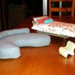 Custom made dollhouse furniture from a cardboard base.