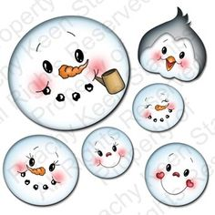 PK-520 Winter Faces Assortment: Peachy Keen Stamps   Home of the original clear, peach-tinted, high-quality whimsical face stamps.