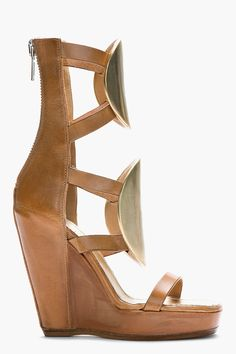 RICK OWENS Tan leather Peron medallion Gladiator wedges