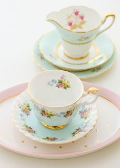 Beautiful pastel tea set - Citrus and Orange