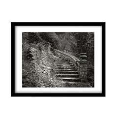 steps, FREE SHIPPING, black and white print, literary gift, black and white…