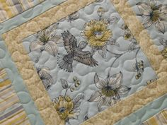 Hummingbird Table Runner - Quilted Table Runner - Blue and Yellow - Table Top Quilt - Cottage Shabby Chic Decor by susiquilts on Etsy