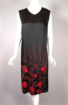 Beaded dress flapper 1920s dress evening black silk red beads size XS