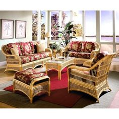 Spice Islands Wicker Sunroom Conversation Set