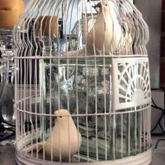 Faux doves in a rustic cage with a marvelous glass block! A bit of whimsey and fun! #vignette #vintage #bird cage #doves #whimsical #tableaux #curiosities #studio #mixed media #altered art