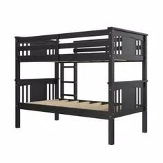 Harper & Bright Designs Espresso Twin Bunk Bed Over with Trundle Bed and End Ladder-SK000067AAP - The Home Depot Two Twin Beds, Twin Bunk Beds, Kids Bunk Beds, Wood Bunk Beds, Bunk Bed With Trundle, Traditional Bunk Beds, Bunk Bed Designs, Mattress Springs, Headboard And Footboard
