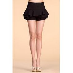 Layered Trendy Solid Color Ruffled Women's Shorts