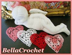 """Sweetie Heart Applique or Ornament       By Elizabeth Ann White     For BellaCrochet          Size:  About 2 ½"""" across.     Skill Leve..."""