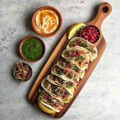 Sumac & Za'atar Cauliflower Tacos with Baba Ganoush, Chimichurri and Fried Leeks
