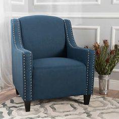 Beckham Fabric Studded Club Chair - Blue