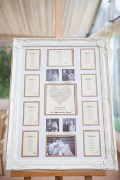Nostalgic seating plan including family wedding photos
