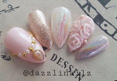 Kawaii---!! Dreamy Princess pink nails❤ Beautiful rose 3D art, Holographic glitter and Holographic powder nails!! Pink gemstone nacklace design for Thumb👑 This is a set of 10 nails😊   ❤Size Choice❤  ☆XS/S/M/L ☆Long XS/Long S/Long M/Long L  Thumb,Pointer,Middle,Ring,Pinky XS⇒3, 6, 5, 7, 9 S⇒2, 5, 4, 6, 9 M⇒1, 5, 4, 6, 8 L⇒0, 4, 3, 5, 7   Estimated width and length.  ☆Nail width☆ 0⇒19mm 1⇒18mm 2⇒17mm 3⇒16mm 4⇒15mm 5⇒14mm 6⇒13mm 7⇒12mm 8⇒11mm 9⇒10mm  ☆Nail shapes ...
