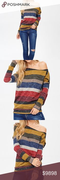 One Shoulder Striped Long Sleeve Sweater Coming Soon * Like to Know when it's Available * Soft and Comfortable One Shoulder Sweater * Features a Chic Stripe Print * Long Sleeve Pullover * 97% Polyester/3% Spandex Sweaters