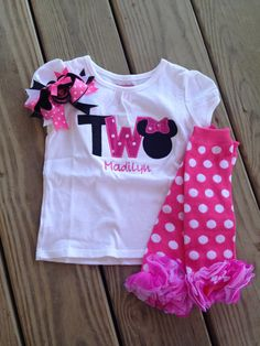 Hot pink and black minnie mouse birthday outfit  2nd by CEBowtique, $30.00