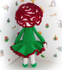 Carnation Cati flower doll made by Yulia Z - crochet pattern by Zabbez