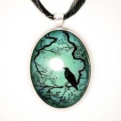 Raven in Teal Handmade Fine Art Pendant