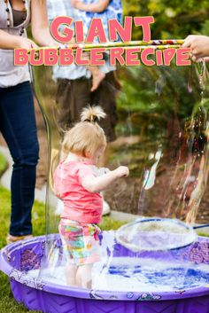 Giant bubble recipe for a bubble themed party - Fun and easy for any day! #bubbles #bubblerecipe #bubbleparty