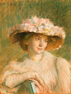 """Louise Catherine Breslau (Swiss, 1856-1927) - """"Le chapeau de roses"""" (The rose hat), 1895"""