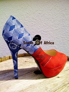 Inspired by the traditional dress of the Xhosa women of South Africa Heels African Attire, African Dress, Princess Shoes, Fabric Shoes, African Fabric, Vintage Shoes, Traditional Dresses, Fashion Prints, African Fashion