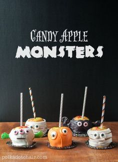 Caramel Apple Decorating Ideas for Halloween, make Candy Apple Monsters. How to make cute caramel apples and decorate for halloween. Theme Halloween, Halloween Goodies, Halloween Desserts, Halloween Food For Party, Halloween Projects, Holidays Halloween, Halloween Treats, Halloween Diy, Happy Halloween