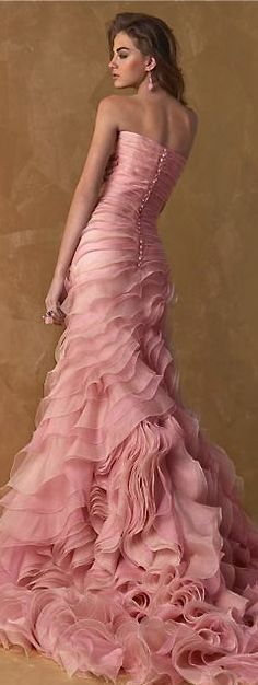 beautiful pink dress gown | pink wedding