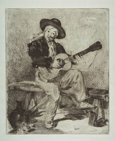 Édouard Manet - 1861-62 The Spanish Singer etching on blue laid pape