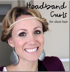 Headband curls for short hair