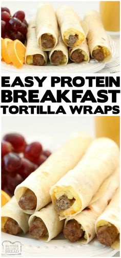 High Protein Breakfast Wraps made with turkey sausage, eggs and cheese wrapped i., Food And Drinks, High Protein Breakfast Wraps made with turkey sausage, eggs and cheese wrapped in a fresh tortilla. Easy on the go breakfast that's delicious and & sa. Breakfast Tortilla, High Protein Breakfast, High Protein Low Carb, Breakfast For Kids, Best Breakfast, Breakfast Recipes, Healthy Breakfast Wraps, Tortilla Bread, Sausage Breakfast