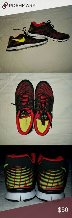 Nike shoes 7 men's 8.5 womens Red and neon green Nike shoes. Barely worn Nike Shoes Athletic Shoes