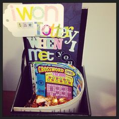 """""""I won the lottery when I met you"""" a box I made for my 4 year anniversary with my boyfriend. Fill the box with kisses and lottery tickets for a very thoughtful, DIY gift."""