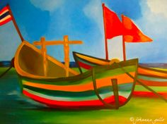 Boats in Thailand. Oils painting.