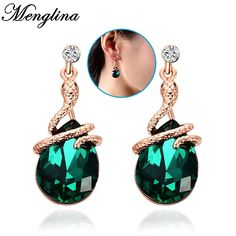 Fashion 18K Gold Plated Metal Alloy Twisted Snake Earrings For Women Green Rhinestone Crystal Stud Earrings Jewelry Brincos