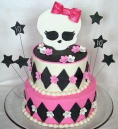 Art Monster high party kidz-party-ideas  Cake - love the feminine touch the flowers gif this one!