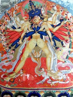 Mongolian painting of the yidam Kalachakra with his consort Vishvamata. The colors are very strong and the painting is of high quality./ The size of the painting is / 26 cm. Buddhist Art, Tibetan Buddhism, Tibet Art, Hindu Statues, Kerala Mural Painting, Thangka Painting, Occult Art, Hindu Art, Unusual Art