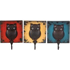 Wilco Owl Wall Hooks, Set of 3