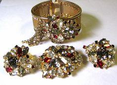 Vintage Art Deco 40's Hobe Rhinestone Parure - Bracelet, Brooch & Earrings