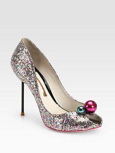 Glitter bauble peep-toe heels
