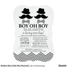 Modern Boy Little Man Mustache TWINS Baby Shower Personalized Invite
