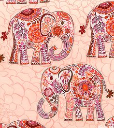 FSKARAPI - Marrakech Elephants -Pastel Pink US $10.50. Available in .5 yard increments.