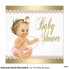 princess baby shower pink tutu gold tiara brunette card | baby, Baby shower invitations