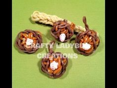 Baseball Series: GLOVE and BALL Charms. Designed and loomed by Crafty Ladybug on the Rainbow Loom. Click Photo for YouTube tutorial.
