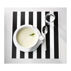 black and white LJUDA placemats at IKEA - surprising cool for a holiday table
