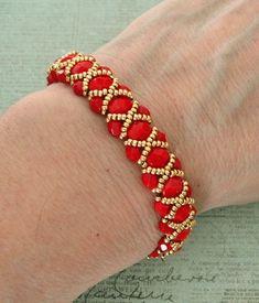Linda's Crafty Inspirations: Bracelet of the Day: Renaissance Bracelet - Red & Gold