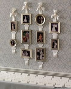 Personal photographs make a reception space feel like home, and you don't need a hammer and nails to display them. Gather pictures of the bride and groom as children, plus relatives' wedding portraits; arrange on ribbons with calligraphed labels. Hang by the seating-card table for all to see.