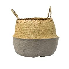 Seagrass Basket with Handles in Natural & Black Set of 6