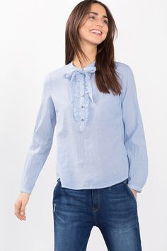 Esprit - Delicate striped blouse in 100% cotton at our Online Shop